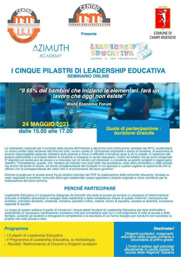 SEMINARIO ONLINE - I CINQUE PILASTRI DI LEADERSHIP EDUCATIVA